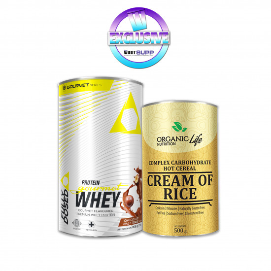 FULLY DOSED (STACK 1) GOURMET WHEY PROTEIN (909G) + FREE CREAM OF RICE 500G